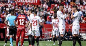 En-Nesyri y Sergi Gómez, durante el partido entre Sevilla y Osasuna |Imagen: Javi Barroso - La Colina de Nervión