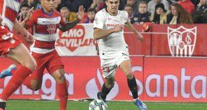 Noticias Sevilla FC - Reguilón durante el duelo frente al Granada CF | Fuente: Sevilla FC