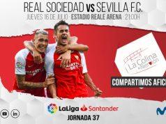 Imagen de la previa del encuentro entre la Real Sociedad y el Sevilla FC