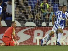 Óscar Rodríguez, uno de los posibles fichajes del Sevilla FC, anotando un gol con el CD Leganés ante el FC Barcelona