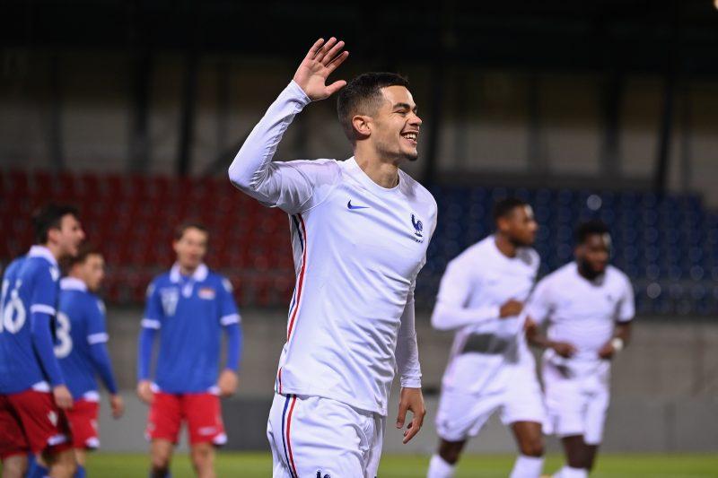 Romain Faivre, uno de los jugadores que está en la lista de fichajes del Sevilla FC, en un encuentro con Francia Sub 21