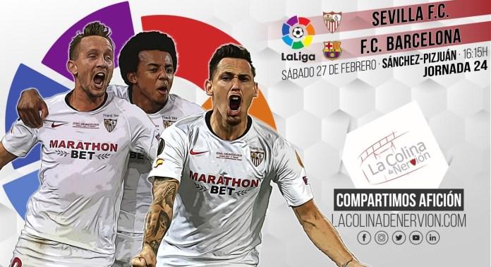 Imagen previa al partido entre el Sevilla FC y el FC Barcelona.