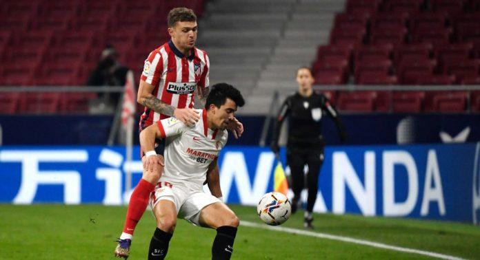 Marcos Acuña en el encuentro ante el Atlético de Madrid
