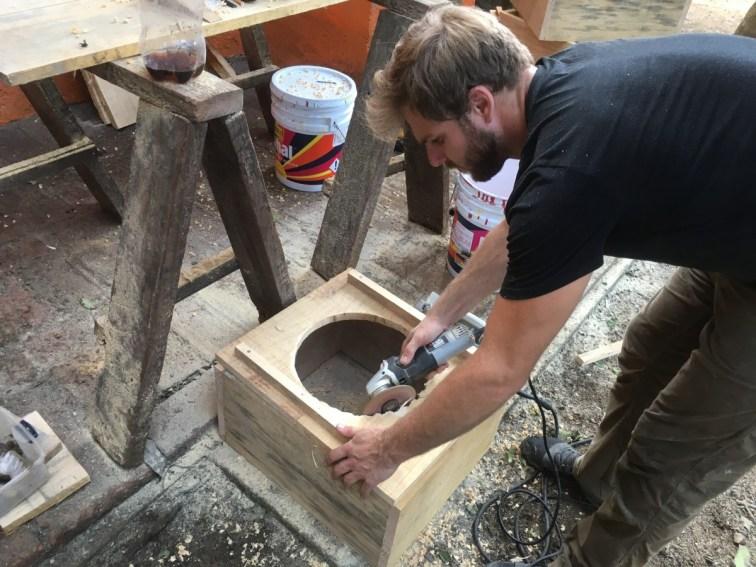 Alex building toilets