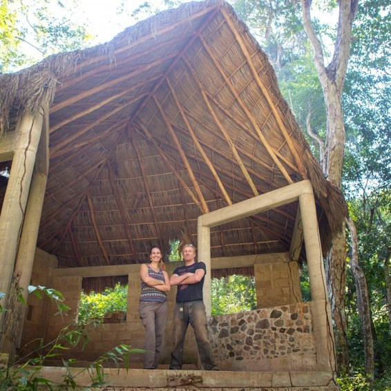 Jayne and Beave standing in the Scorpion Temple, a building full of potential but not yet finished.