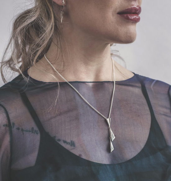 Silver necklace by British jewellery designer Lindsay Forbes