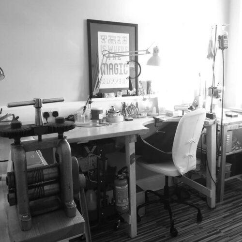 Eco-friendly jewellery designer Lindsay Forbes' workbench