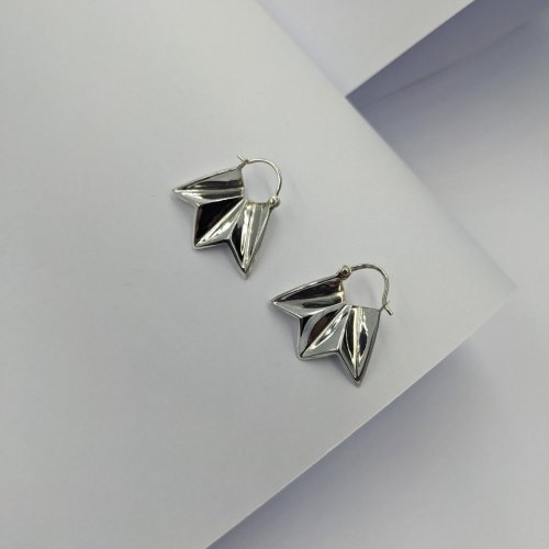 Fracture silver creole earrings