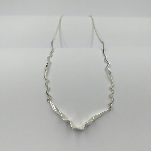 Fracture silver necklace