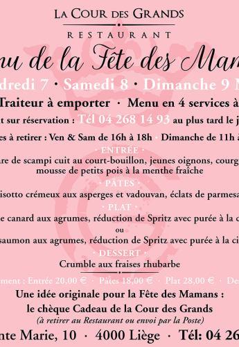Menu Fête des Mamans, Ve 7, Sa 8, Dimanche 9 mai 2021