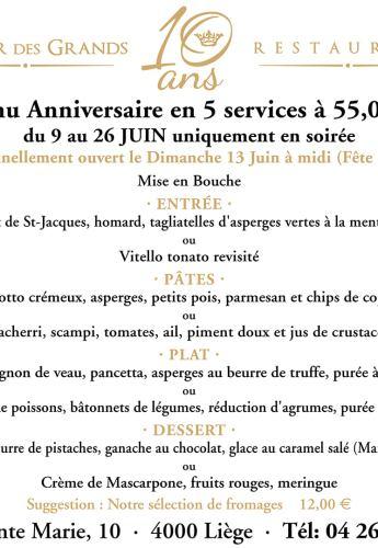 Menu 10e anniversaire Juin 2021 5 services 55 €