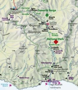 Mapa de la Garganta de Samaria