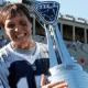 Aug 26, 2012; Allston, MA, USA; Chesapeake Bayhawks goalie Kip Turner (15) holds the major league lacrosse championship trophy after defeating Denver Outlaws 16-6 at Harvard Stadium. Mandatory Credit: Greg M. Cooper-US PRESSWIRE