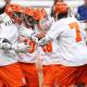 Feb. 26, 2012; Syracuse Orange, NY: Syracuse Orange players celebrate a goal against Army Black Knights in the first half. The Syracuse Orange beat the Army Black Knights 10-9 at the Carrier Dome. Mandatory Credit: Danny Wild-USA TODAY Sports
