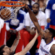 Apr 30, 2013; Los Angeles, CA, USA; Los Angeles Clippers center DeAndre Jordan (6) dunks over Memphis Grizzlies center Marc Gasol (33) in the first half of game five of the first round of the 2013 NBA Playoffs at the Staples Center. Mandatory Credit: Jayne Kamin-Oncea-USA TODAY Sports
