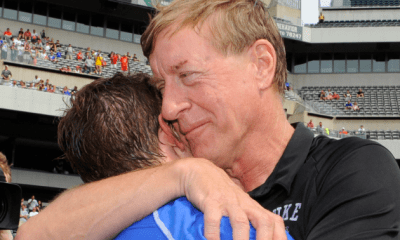 May 27, 2013; Philadelphia, PA, USA; Duke Blue Devils head coach John Danowski and attackman Josh Dionne (8) celebrate their teams 16-10 victory over the Syracuse Orange following the 2013 NCAA Division I Men's Lacrosse Championship Game at Lincoln Financial Field. Mandatory Credit: Rich Barnes-USA TODAY Sports