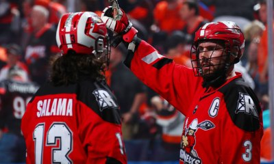 The Calgary Roughnecks defeat the Buffalo Bandits 10-7 in Game 1 of the 2019 NLL Finals.
