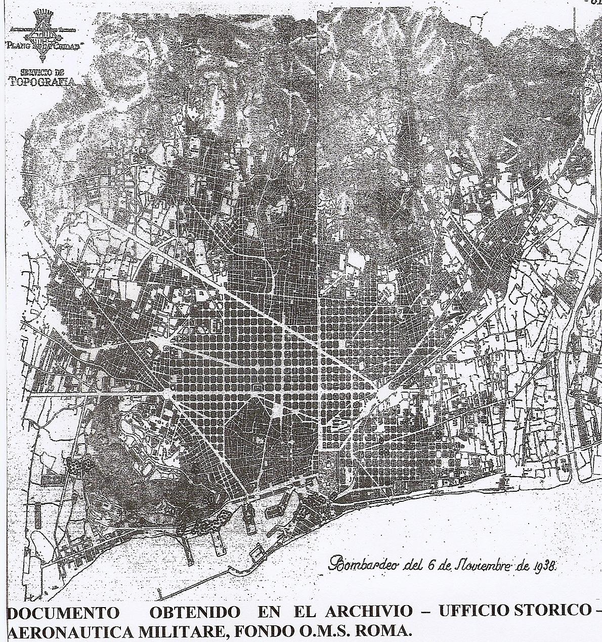 mapa barcelona bombas marcadas lacruelguerra.com