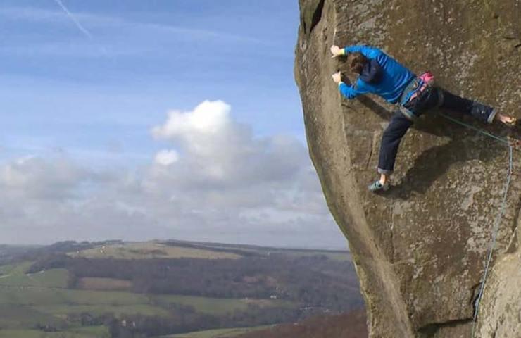 James Pearson in der Route The Elder Statesman im Peak District
