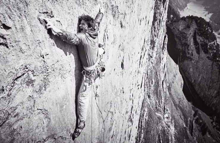 Michi Wohlleben bei der Erstbegehung von Parzival an der Dreifaltigkeit im Alpstein - Schweiz
