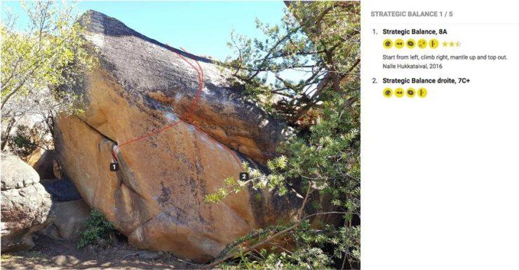 Digitaler Boulderführer: Alle Linien sind eingezeichnet und mit Infos versehen