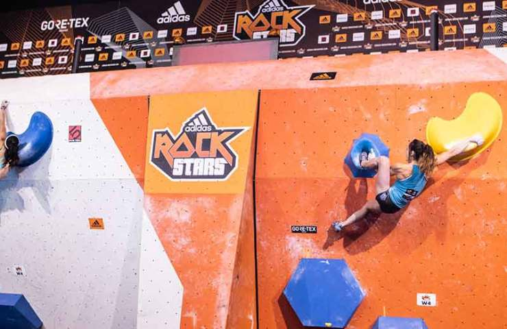 Miho Nonaka and Jernej Kruder win the bouldering competition Adidas Rockstars 2018