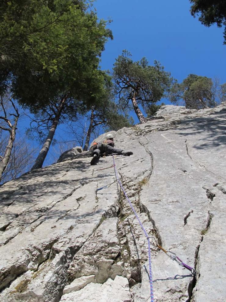 Hier lassen sich fast alle Routen selbst absichern - Bonnes Fontaines, Jura (Bild Michael Kropac).