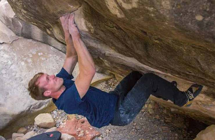 Nalle Hukkataival manages the third ascent of Boulders Sleepwalker