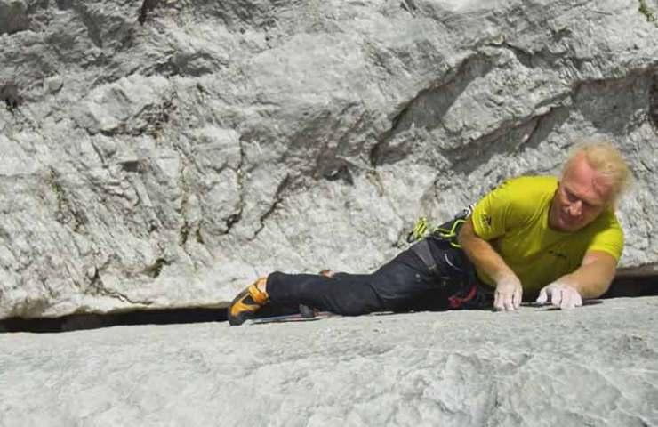 Video: Beat Kammerlander bei der Begehung der Mehrseillängenroute Kampfzone (6 SL, 8c) im Rätikon