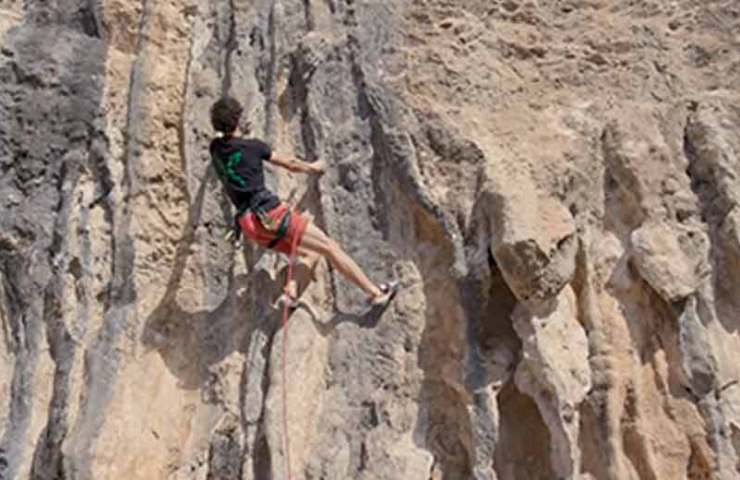 For this 7a, Adam Ondra needs three attempts