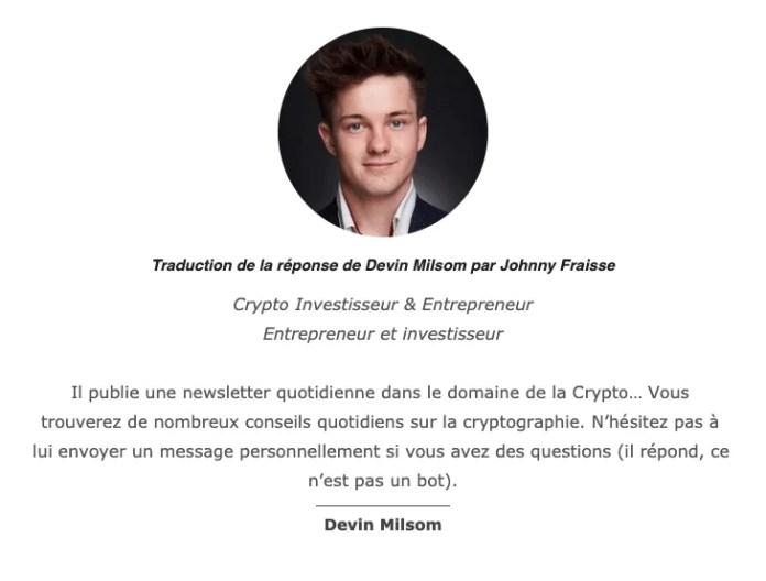 Réponse de Devin Milsom à est-ce que le Bitcoin est capable d'atteindre un pic de croissance de 200% ?