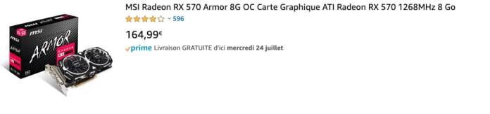 MSI Radeon RX 570 Armor 8G OC Carte Graphique ATI Radeon RX 570 1268MHz 8 Go