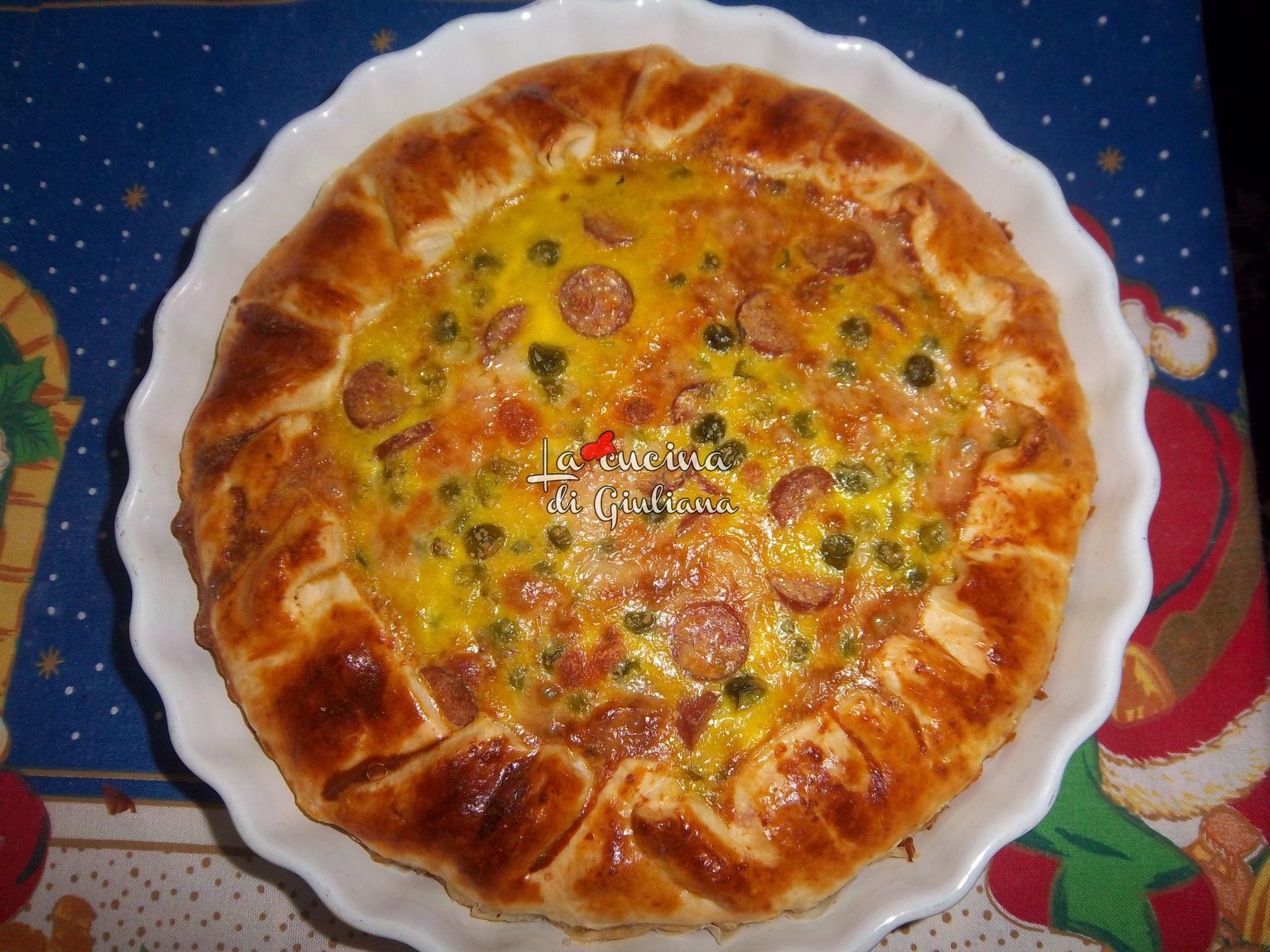 Ricetta Torta Salata Wurstel.Torta Salata Con Piselli Wurstel E Mozzarella La Cucina Di Giuliana
