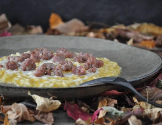 Risotto alla crema di zucca con fonduta al Taleggio e salsiccia