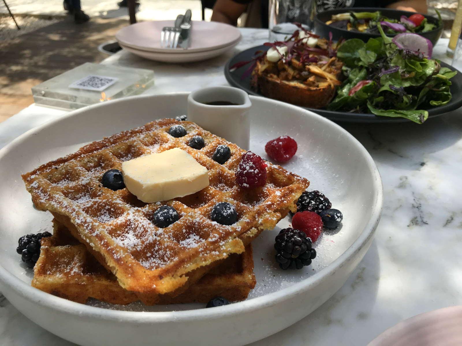 Mochi waffles at Plant Food + Wine