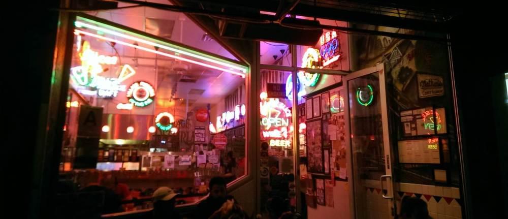 Crazy neon at Village Pizzeria