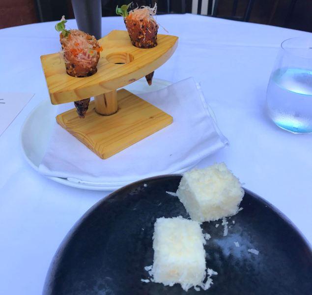 Spicy Tuna Tartare in Sesame Miso Tuille Cone plus Savory Parmesan Marshmallow