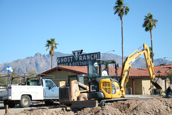 Redevelopment of the Ghost Ranch Lodge with the iconic sign in the background.