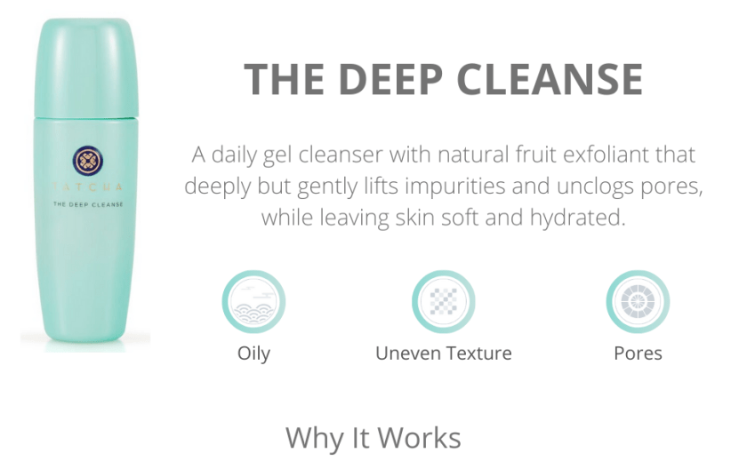 tatcha the deep cleanse gel cleanser fruit exfoliant deeply cleanses unclogs pores hydrated skin