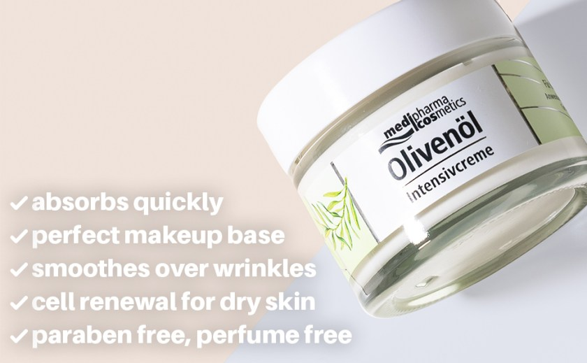 cold-pressed olive oil unique formula dry face skin cream intensive moisture smoother anti-aging