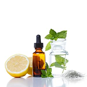 essential oil, lemon oil, peppermint oil, dead sea salt