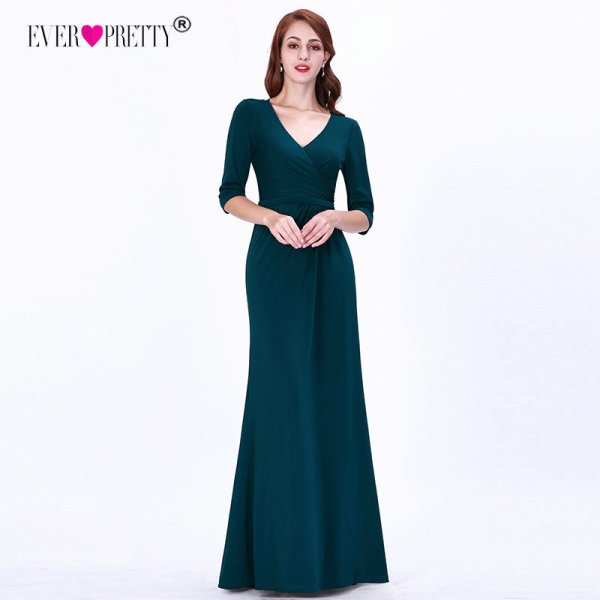 Teal Mother Of The Bride Dresses Plus Size Elegant A Line V Neck Half  Sleeve Wedding Party Gowns Long Special Occasions Dresses