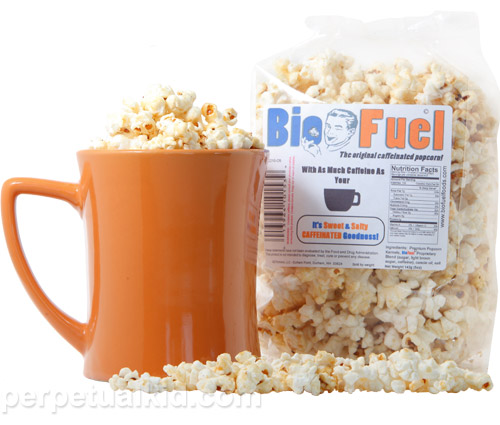 The Biofuel Caffeinated Popcorn Keeps You Fresh Throughout the Day