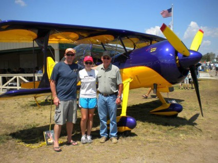 Madeline Norcross with her dad and granddad, 3 generations of aviators