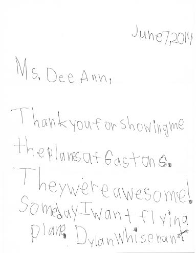 Dee Ann Ediger childs letter