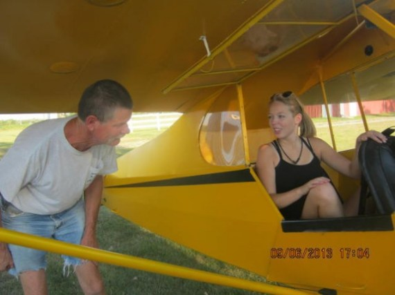 The Cub is my baby. The next picture was taken on the day I soloed. I was talking to my flight instructor, so excited.