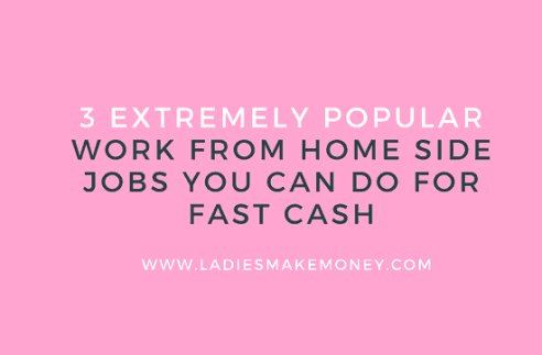Side business and make money from home. Make money at home with this list of 3 smart ways you can earn an extra $1,000 each month. Learning to make money from home has never been easier than it is right now! Make fast money from home using these 3 stay at home job opportunities. #moneytips