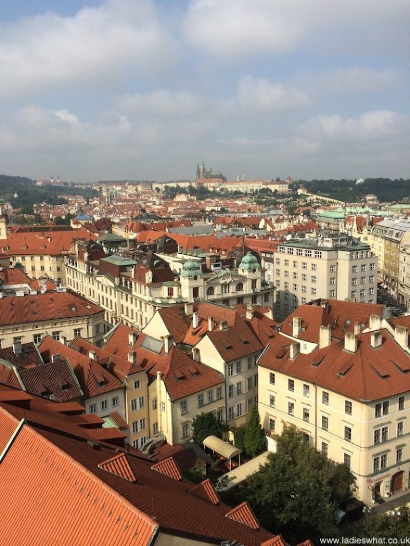 A view from the top of Prague's clock tower