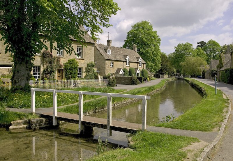 The River Eye in the picturesque village of Lower Slaughter, Gloucestershire.