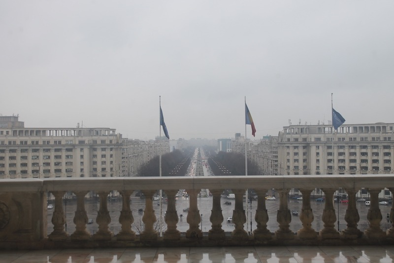 Ceausescu's dream view from the main balcony of the Palace of the Parliament. See - no churches!